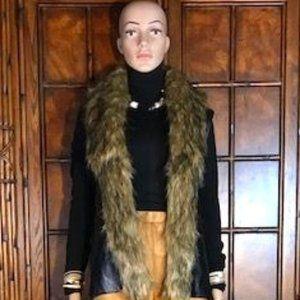 Faux Leather Vest with Faux Fur Collar